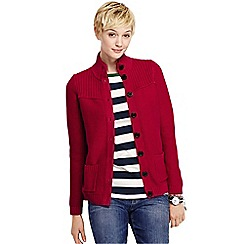 Lands' End - Red women's drifter polo neck cardigan