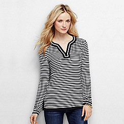 Lands' End - Black women's fine gauge cotton notched neck striped tunic