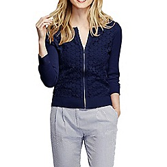 Lands' End - Blue women's lace fine gauge cotton zip cardigan