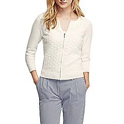 Lands' End - Cream women's lace fine gauge cotton zip cardigan