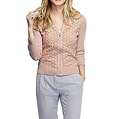 Lands' End - Pink women's lace fine gauge cotton zip cardigan