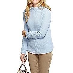 Lands' End - Blue women's cotton shaker funnel neck jumper