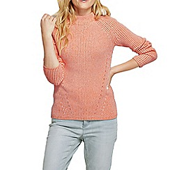 Lands' End - Orange women's cotton shaker funnel neck jumper