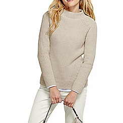 Lands' End - Beige women's cotton shaker funnel neck jumper