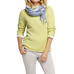Lands' End - Yellow women's cotton shaker funnel neck jumper