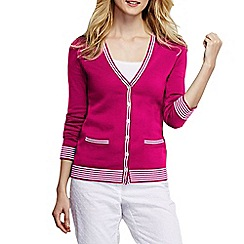Lands' End - Pink women's tipped cotton v neck cardigan