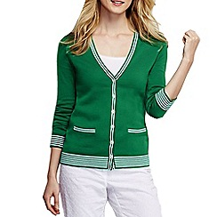 Lands' End - Green women's tipped cotton v neck cardigan