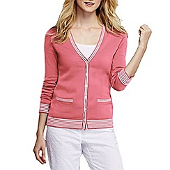 Lands' End - Orange women's tipped cotton v neck cardigan