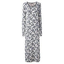 Lands' End - Cream long sleeve mid-calf patterned sleep-t