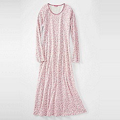Lands' End - Pink women's long sleeve mid-calf patterned sleep-t
