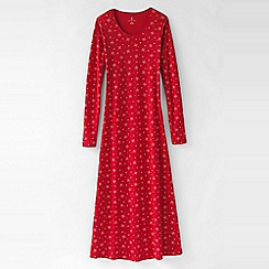 Lands' End - Red women's long sleeve mid-calf patterned sleep-t