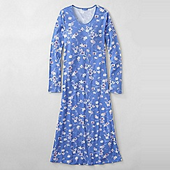 Lands' End - Blue women's long sleeve mid-calf patterned sleep-t