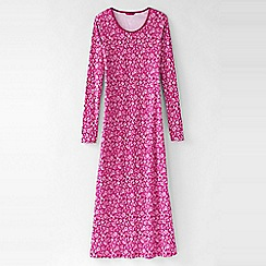 Lands' End - Pink women's petite long sleeve mid-calf print sleep-t