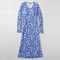 Lands' End - Blue women's petite long sleeve mid-calf print sleep-tee