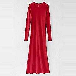 Lands' End - Red women's long sleeve mid-calf plain sleep-t