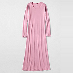 Lands' End - Pink women's long sleeve mid-calf plain sleep-t