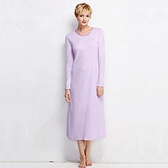 Lands' End - Purple women's long sleeve mid-calf plain sleep-t petite
