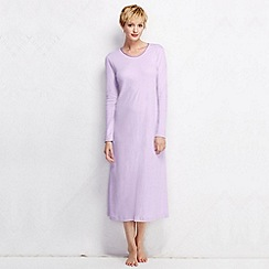 Lands' End - Purple women's long sleeve mid-calf plain sleep-t