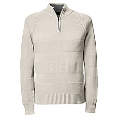 Lands' End - White striped textured drifter polo neck sweater