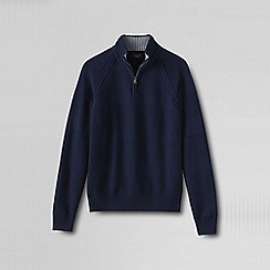 Lands' End - Blue men's striped textured drifter polo neck sweater