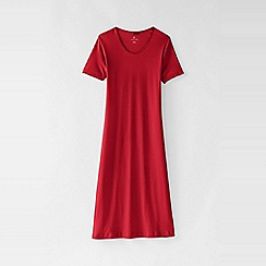 Lands' End - Red women's petite short sleeve knee length plain sleep-t