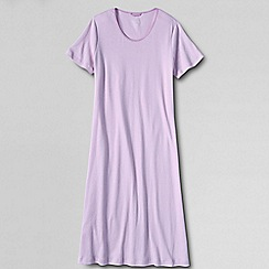 Lands' End - Petite purple women's short sleeve knee length plain sleep-tee