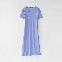 Lands' End - Purple women's plus short sleeve knee length plain sleep-t