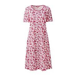 Lands' End - Cream short sleeve knee-length patterned sleep-t