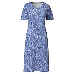 Lands' End - Blue short sleeve knee-length patterned sleep-t