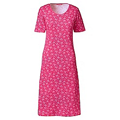 Lands' End - Pink petite short sleeve knee-length patterned sleep-t