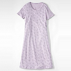Lands' End - Purple women's petite short sleeve knee-length patterned sleep-t