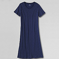 Lands' End - Petite blue women's short sleeve knee-length patterned sleep-tee