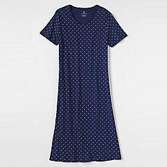 Lands' End - Blue women's plus short sleeve knee-length patterned sleep-t