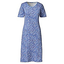 Lands' End - Blue plus short sleeve knee-length patterned sleep-t