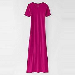 Lands' End - Pink women's short sleeve mid-calf plain sleep-t