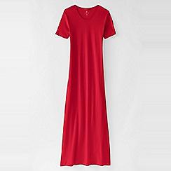 Lands' End - Red women's short sleeve mid-calf plain sleep-t