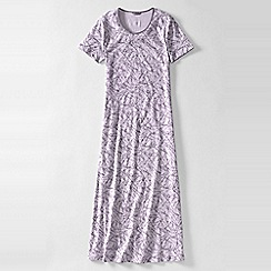 Lands' End - Petite purple women's short sleeve mid-calf patterned sleep-tee