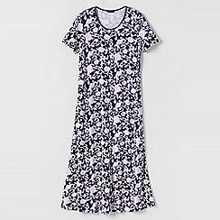 Lands' End - Blue women's petite short sleeve mid-calf patterned sleep-t