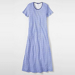 Lands' End - Petite blue women's short sleeve mid-calf patterned sleep-tee