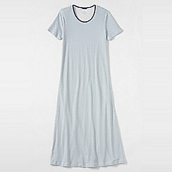 Lands' End - Blue women's petite short sleeve mid-calf patterned sleep-t