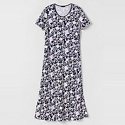 Lands' End - Blue women's short sleeve mid-calf patterned sleep-t