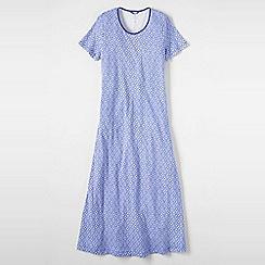 Lands' End - Blue women's short sleeve mid-calf patterned sleep-t