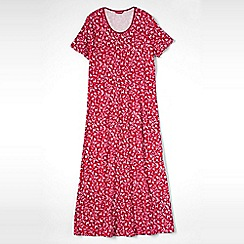 Lands' End - Red women's short sleeve mid-calf patterned sleep-t
