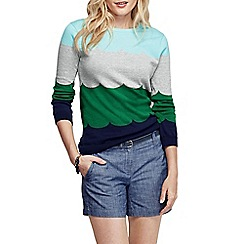 Lands' End - Blue women's fine gauge supima scallop neck jumper