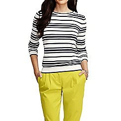 Lands' End - Multi women's three quarter sleeve supima textured stripe jumper