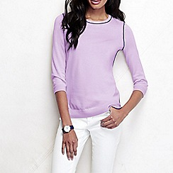 Lands' End - Purple women's tipped fine gauge supima crew neck