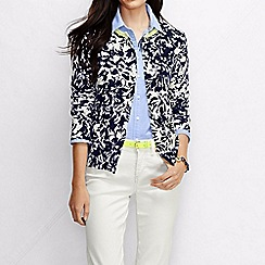 Lands' End - Blue women's colourblock fine gauge supima cotton cardigan