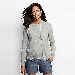 Lands' End - Grey pointelle fine gauge supima® cardigan