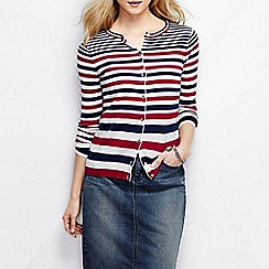 Lands' End - Red women's stripe fine gauge supima cardigan