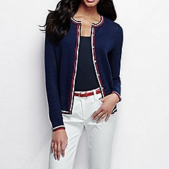 Lands' End - Blue women's pointelle tipped fine gauge supima cardigan